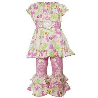 Ann Loren Girls' Boutique Springtime Forest Friends Multicolor Cotton Floral Print 2-piece Clothing Set