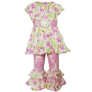 Ann Loren Girls' Boutique Springtime Forest Friends Multicolor Cotton Floral Print 2-piece Clothing Set