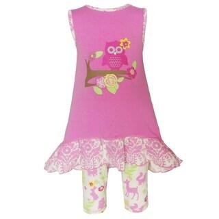 Annloren Girls Boutique Pink Cotton Springtime Owl 2-Piece Clothing Set
