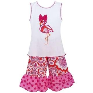 AnnLoren Girls' Boutique Hot Pink Cotton Flamingo Tunic and Capri Outift
