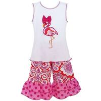 AnnLoren Girls' Boutique Hot Pink Cotton Flamingo Tunic and Capri Outift