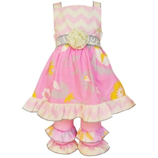 AnnLoren Girls' Boutique Pink Chevron and Floral Dress and Capri Set