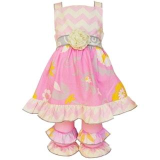 AnnLoren Girls' Boutique Pink Chevron and Floral Dress and Capri Set