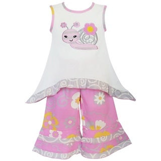 AnnLoren Girls' Boutique Sweet Snail Pink and Cream Tunic and Capri Set