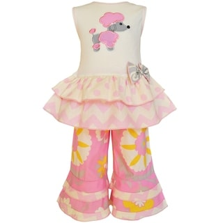 Ann Loren Girls Pink Cotton Poodle Tunic and Capri Pants Set
