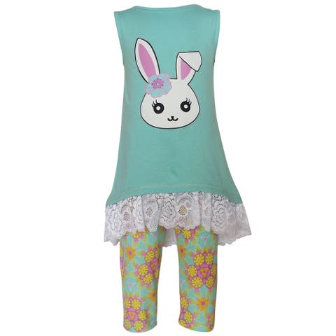AnnLoren Girls' Boutique Easter Bunny 2-Piece Clothing Set