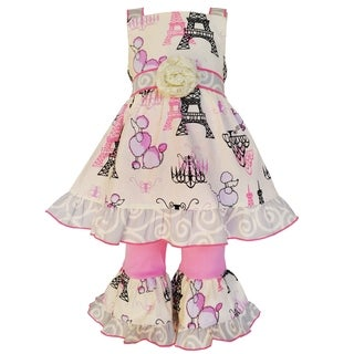 AnnLoren Girls Boutique Poodles in Paris Cotton Dress and Capri Set