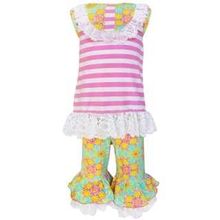 AnnLoren Girls Boutique Springtime Stripes and Floral 2-Piece Outfit