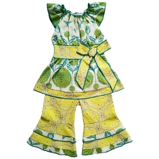Ann Loren Girls' Festive Boutique Spring Floral and Damask Outfit