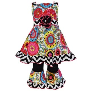 AnnLoren Girls Boutique Glamour Floral Cotton Damask Dress & Capri Set
