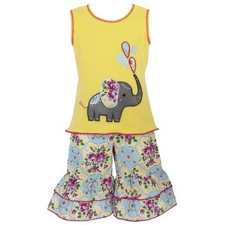 AnnLoren Girls Boutique Yellow Elephant Floral Tunic and Capri Outfit
