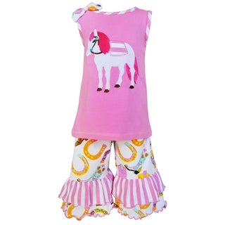 AnnLoren Girl's Cotton Pony Tunic and Capri Outfit