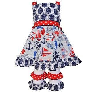 AnnLoren Girls Boutique 4th of July Nautical Rope Dress & Capri Set (More options available)