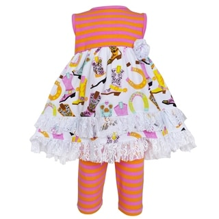 AnnLoren Multicolored Cotton Fancy Cowgirl Dress and Legging Outfit