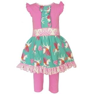 AnnLoren Girls Boutique Pink Unicorn Dress and Capri Clothing Set