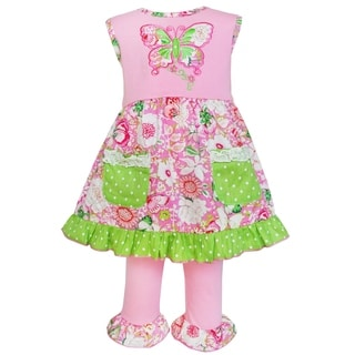 AnnLoren Girls Boutique Pink/Green Cotton Butterfly Dress and Capri Set