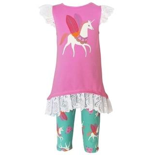 Ann Loren Girls Pink Cotton Unicorn Tunic and Capri Pants Outfit (2-piece Set)