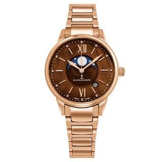 Alexander Women's Swiss Made Moonphase 'Vassilis' Rose Gold Stainless Steel Link Bracelet Watch