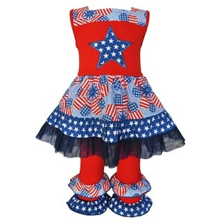AnnLoren Girls' Boutique Patriotic Dress and Capri Outfit 2-piece Set