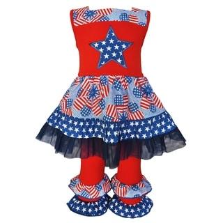 AnnLoren Girls' Boutique Patriotic Dress and Capri Outfit 2-piece Set