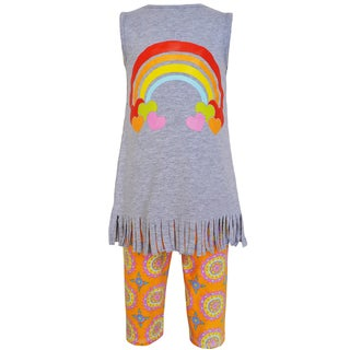 AnnLoren Girls' Cotton Rainbow and Medallion 2-piece Outfit