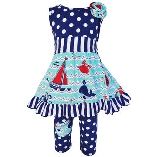 Ann Loren Girls Boutique Multicolor Cotton Nautical Dress with Polka Dot Legging Capri Set