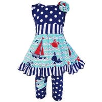 Ann Loren Girls Boutique Multicolor Cotton Nautical Dress with Polka Dot Legging Capri Set