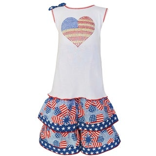 AnnLoren Girls' Cotton Boutique Patriotic Tunic and Capri 2-piece Set