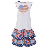 AnnLoren Girls' Cotton Boutique Patriotic Tunic and Capri 2-piece Set