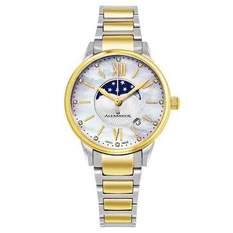 Alexander Women's Swiss Made Moonphase 'Vassilis' Gold Tone Stainless Steel Link Bracelet Watch