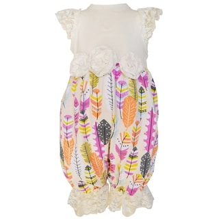 Ann Loren Girls Boutique Multicolor Cotton Feather and Lace Romper