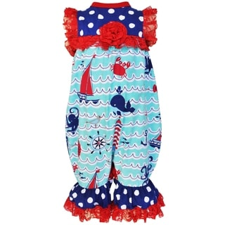 Ann Loren Girls Boutique Multicolor Cotton Nautical Romper with Red Lace Trim