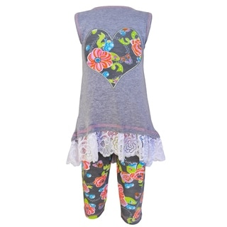 AnnLoren Girls' Grey Cotton Floral Heart Tunic and Capri Legging Set