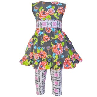 AnnLoren Floral Butterfly and Ladybugs Dress and Capri Pants (Option: Geometric)