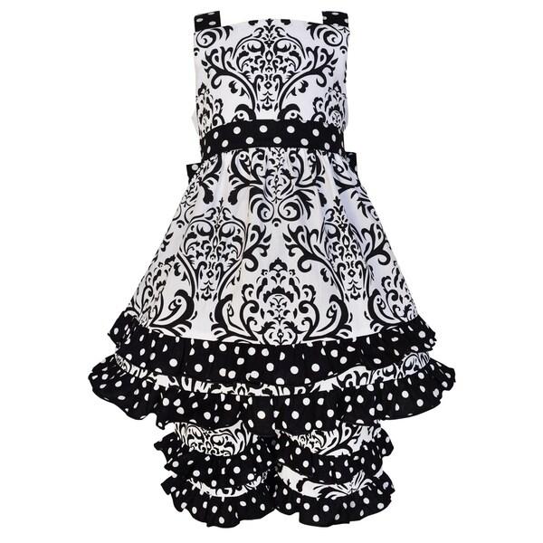 Ann Loren Girls Boutique Black & White Cotton Damask and Dots Dress Outfit