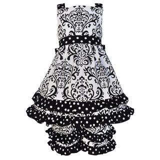 Ann Loren Girls Boutique Black and White Cotton Damask and Dots Dress Outfit