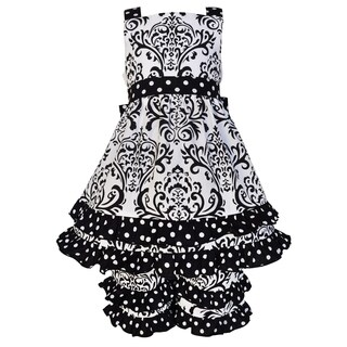 Ann Loren Girls Boutique Black & White Cotton Damask and Dots Dress Outfit