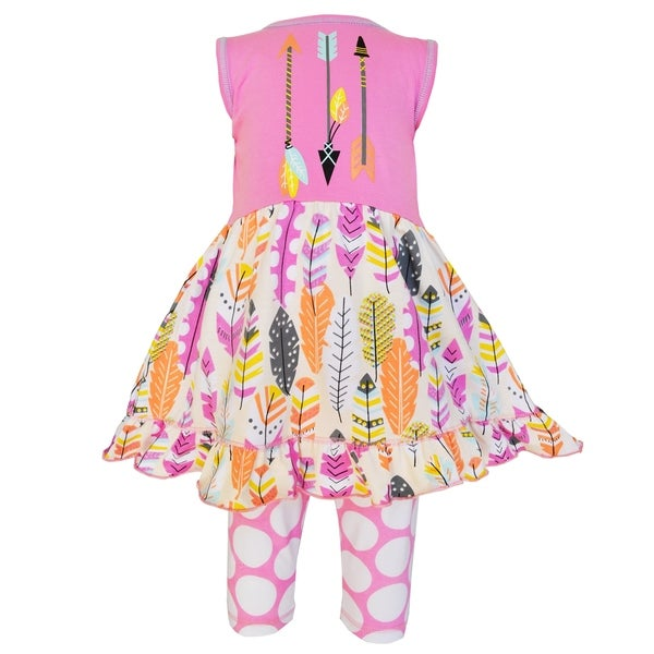 AnnLoren Girls Pink Cotton Feather Dress and Capri Outfit