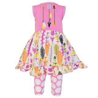 AnnLoren Girls Pink Cotton Feather Dress and Capri Outfit (More options available)