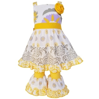 AnnLoren Girls' Grey Floral and Damask Dress and Yellow Capri Pants Set