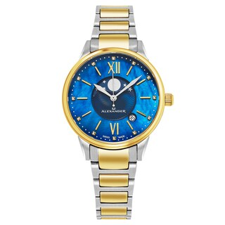 Alexander Women's Swiss Made Moonphase 'Vassilis' Two-Tone Stainless Steel Link Bracelet Watch