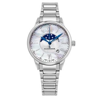 Alexander Women's Swiss Made Moonphase 'Vassilis' Stainless Steel Link Bracelet Watch