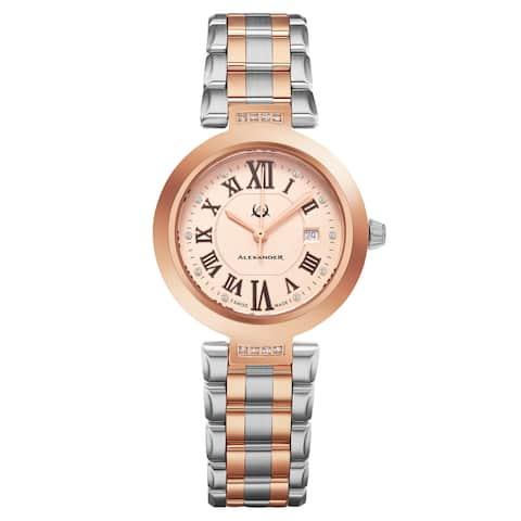 Alexander Women's Swiss Made Diamond 'Niki' Two-Tone Stainless Steel Link Bracelet Watch