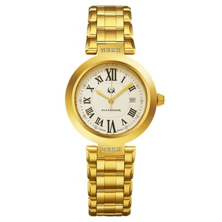 Alexander Women's Swiss Made Daimonds 'Niki' Gold Tone Stainles Steel Link Bracelet Watch