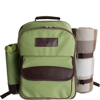 Picnic Pack Picnic Backpack for 4 with Insulated Cooler and Plaid Blanket, Green