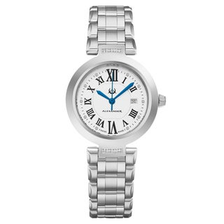 Alexander Women's Swiss Made Diamond  'Niki' Stainless Steel Link Bracelet Watch