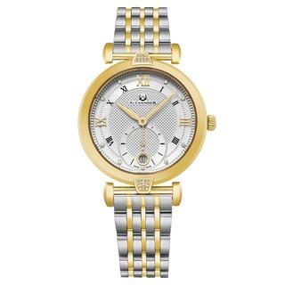 Alexander Women's Swiss Made 'Oympias' Two-Tone Stainless Steel Link Bracelet Watch
