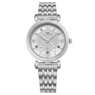 Alexander Women's Swiss Made 'Olympias' Stainless Steel Link Bracelet Watch