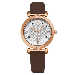 Alexander Women's Swiss Made 'Olympias' Brown Satin Leather Strap Watch