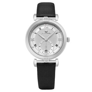 Alexander Women's Swiss Made 'Olympias' Black Satin Leather Strap Watch